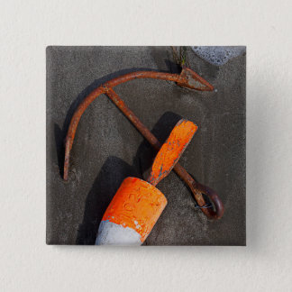 Rusty Anchor And Buoy On A Beach 15 Cm Square Badge