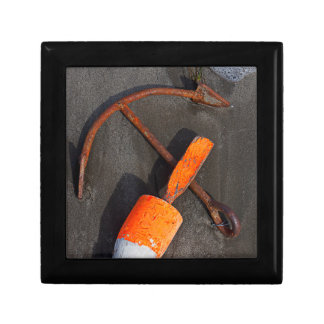 Rusty Anchor And Buoy On A Beach Small Square Gift Box