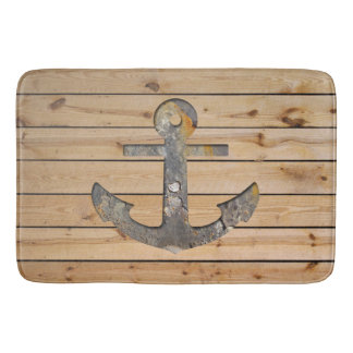 Rusty Anchor on Wood Bath Mat