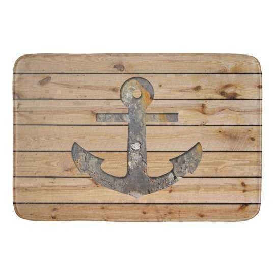 Rusty Anchor on Wood Bath Mats