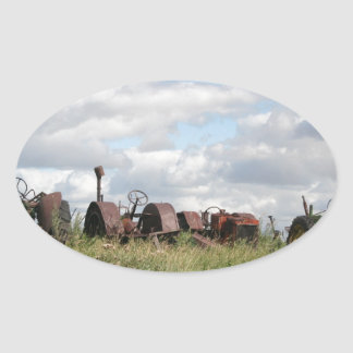 rusty antiques waiting oval sticker