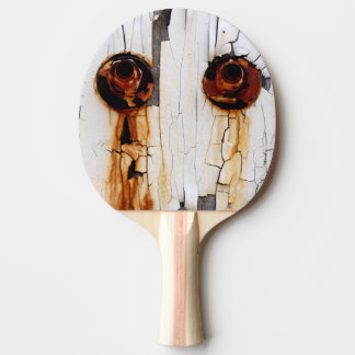 Rusty Bolts Nuts and Peeling Paint Ping Pong Paddle