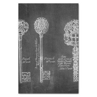 Rusty Chalkboard Victorian steampunk skeleton keys Tissue Paper