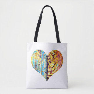 Rusty, colourful cracked heart tote bag