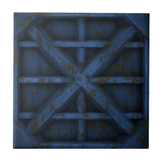Rusty Container - Blue - Small Square Tile