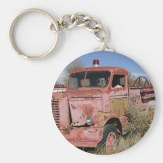 Rusty Fire Truck Basic Round Button Key Ring