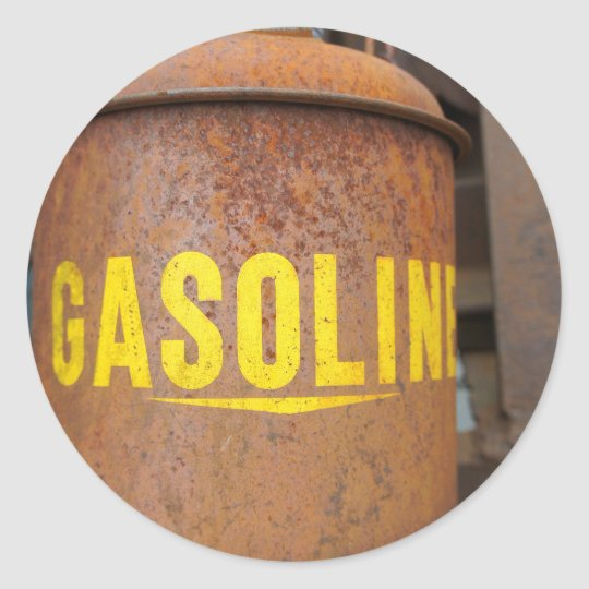 Rusty Gas Can Classic Round Sticker