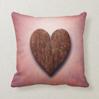 Rusty Industrial Valentine's Love Heart on Pink Throw Pillow