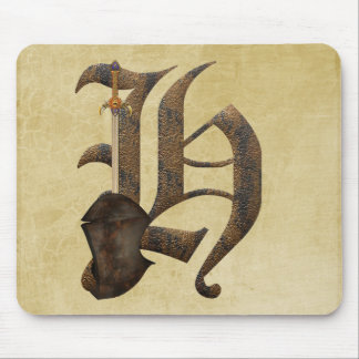 Rusty Knight Initial H Mouse Mat