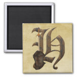 Rusty Knight Initial H Square Magnet