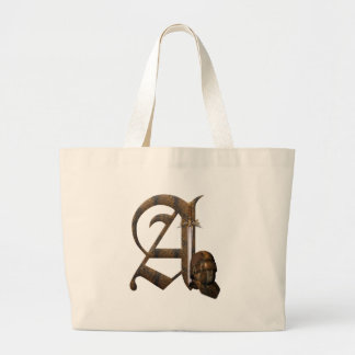 Rusty Knights Initial A Large Tote Bag