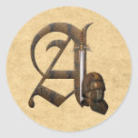 Rusty Knights Initial A Round Sticker