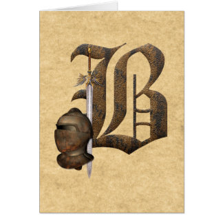 Rusty Knights Initial B Greeting Cards