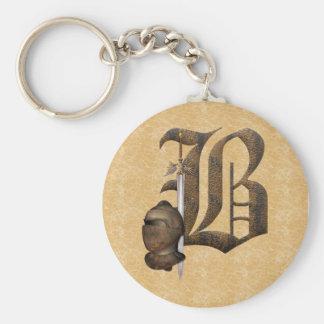 Rusty Knights Initial B Key Ring