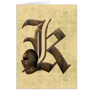 Rusty Knights Initial K Greeting Card
