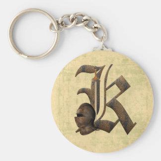 Rusty Knights Initial K Key Ring
