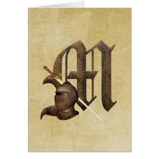 Rusty Knights Initial M Greeting Card
