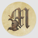 Rusty Knights Initial M Round Sticker