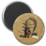 Rusty Knights Initial N 6 Cm Round Magnet