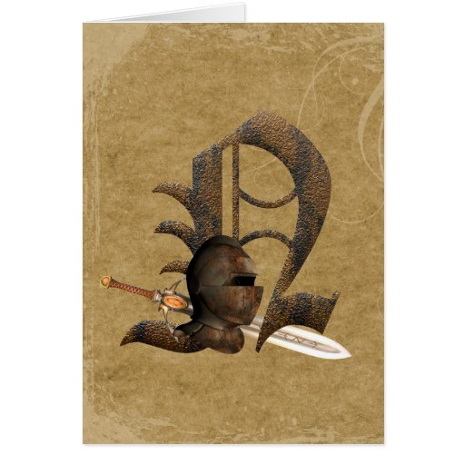 Rusty Knights Initial N Greeting Card