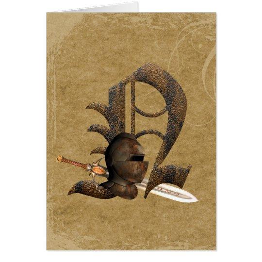 Rusty Knights Initial N Greeting Card