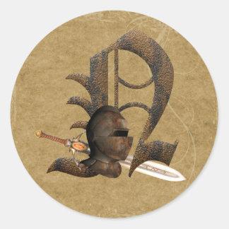 Rusty Knights Initial N Round Sticker