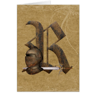 Rusty Knights Initial R Greeting Card