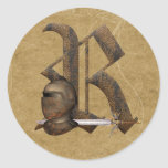 Rusty Knights Initial R Round Stickers