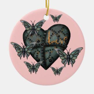 Rusty metal love heart and butterflies ornament