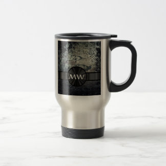 Rusty metal monogram travel mug