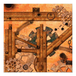 Rusty metal pipes 13 cm x 13 cm square invitation card