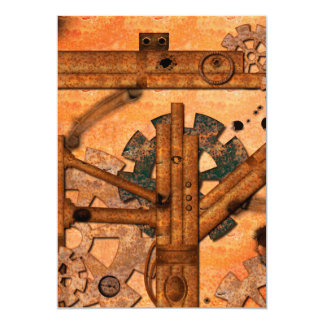 Rusty metal pipes 13 cm x 18 cm invitation card