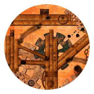 Rusty metal pipes 13 cm x 13 cm square invitation card