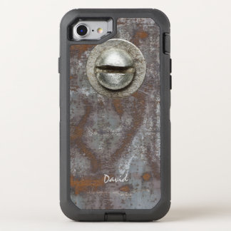 Rusty Metal Steampunk with Name Cool OtterBox Defender iPhone 7 Case