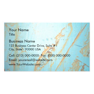 Rusty metal with a crack of blue business card
