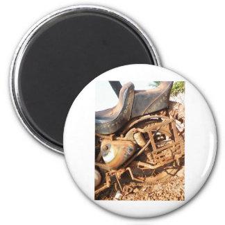 Rusty Motorbike 6 Cm Round Magnet