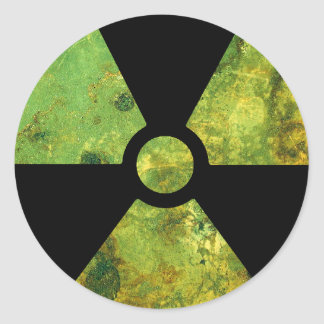 Rusty Nuclear Radiation Warning Symbol Round Sticker