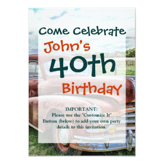 Rusty Old Classic Car Vintage Automobile Personalized Invitations