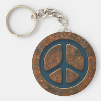 Rusty Peace Sign Basic Round Button Key Ring