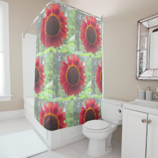 Rusty Red Sunflower Shower Curtain