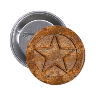 Rusty Star 6 Cm Round Badge