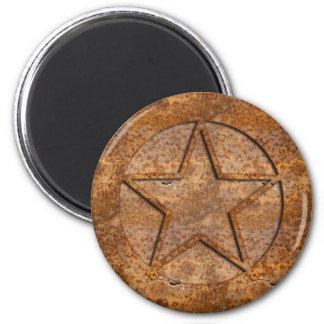 Rusty Star 6 Cm Round Magnet