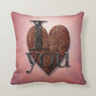 Rusty Steampunk Valentine's I Love You Pink Heart Throw Pillow