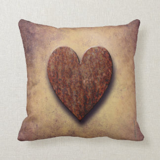 Rusty Valentine's Heart Throw Pillow