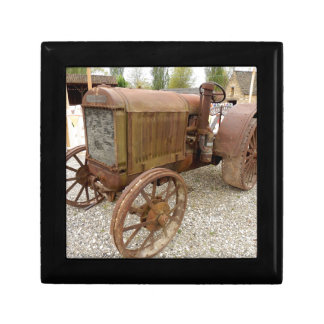 Rusty vintage tractor gift box