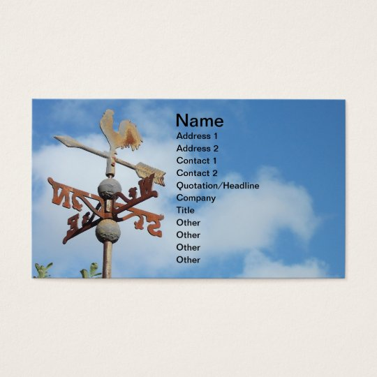 Rusty Weathervane against blue sky Business Card