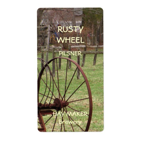 Rusty Wheel ~ Beer Label Shipping Label