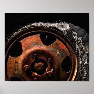 Rusty Wheel Torn Tire Macro Photograph Poster