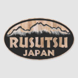 Rusutsu Japan wooden oval stickers