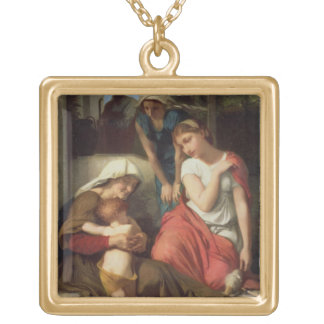 Ruth and Naomi, 1859 (oil on canvas) Square Pendant Necklace